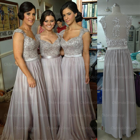 cap sleeve bridesmaid dresses, lace bridesmaid dress, grey prom ...
