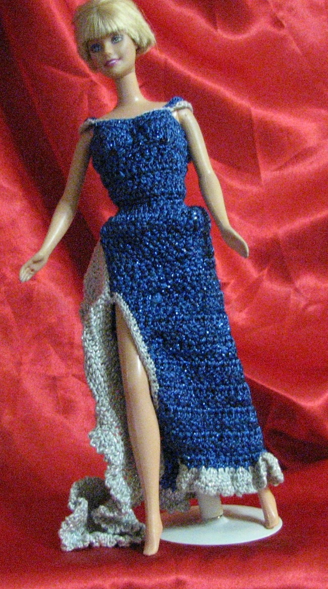 Tadpole Togs | Evening Gown for Fashion Doll: One of a Kind, Crocheted
