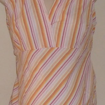 Pink/Yellow Stripe Sleeveless Shirt With Collar-Oh Baby By Motherhood Size Medium