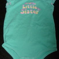 I'm the Little Sister Teal Blue Onesie-Okie Dokie Size 6-9 Months