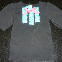 Long Sleeve Black Shirt with Teal Ruffle and Pink Bow-Mudpie Size 0-6 Months