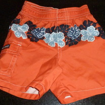 Orange Hawaiian Swim Shorts-Old Navy Size 6-12 Months