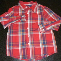 Red Plaid Long Sleeve Shirt-Cherokee Size 24 Month