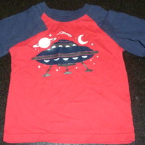 Red/Navy Outer Space Long Sleeve Shirt-Garanimals Size 24 Months