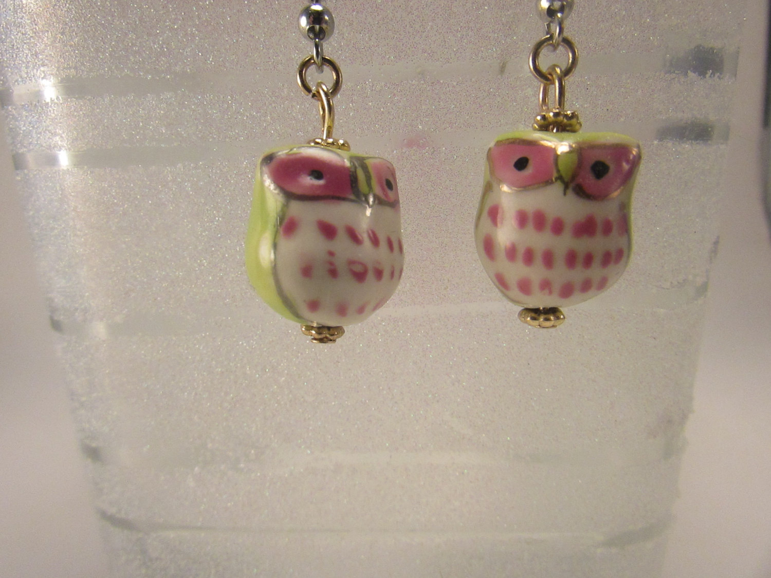 Porcelain owl earrings ceramic owl fish hook earrings for Owl fish store