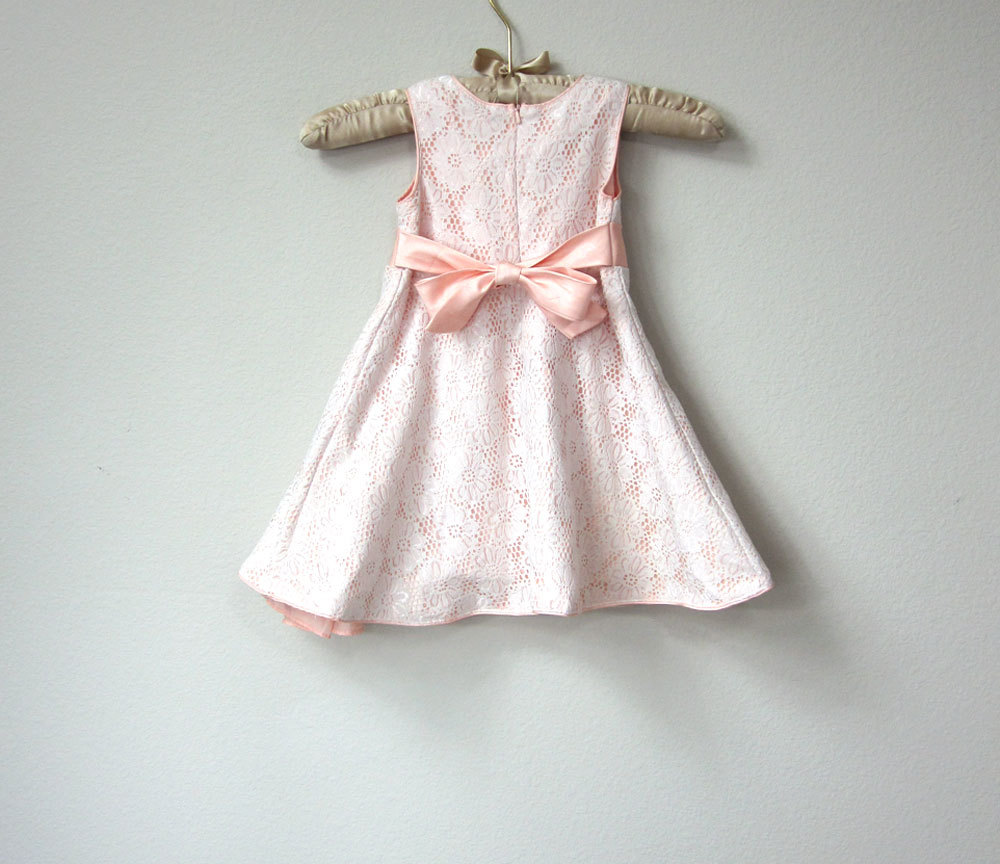 Sweet Toddler Baby Girl S Dress Light Peach Satin With White Lace