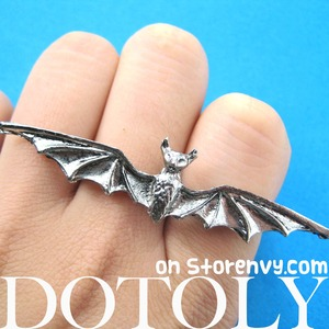 Adjustable Bat Double Duo Finger Animal Ring in Silver
