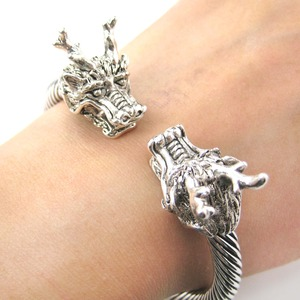 Dragon Animal Wrap Bangle Bracelet with Textured Detail in Silver