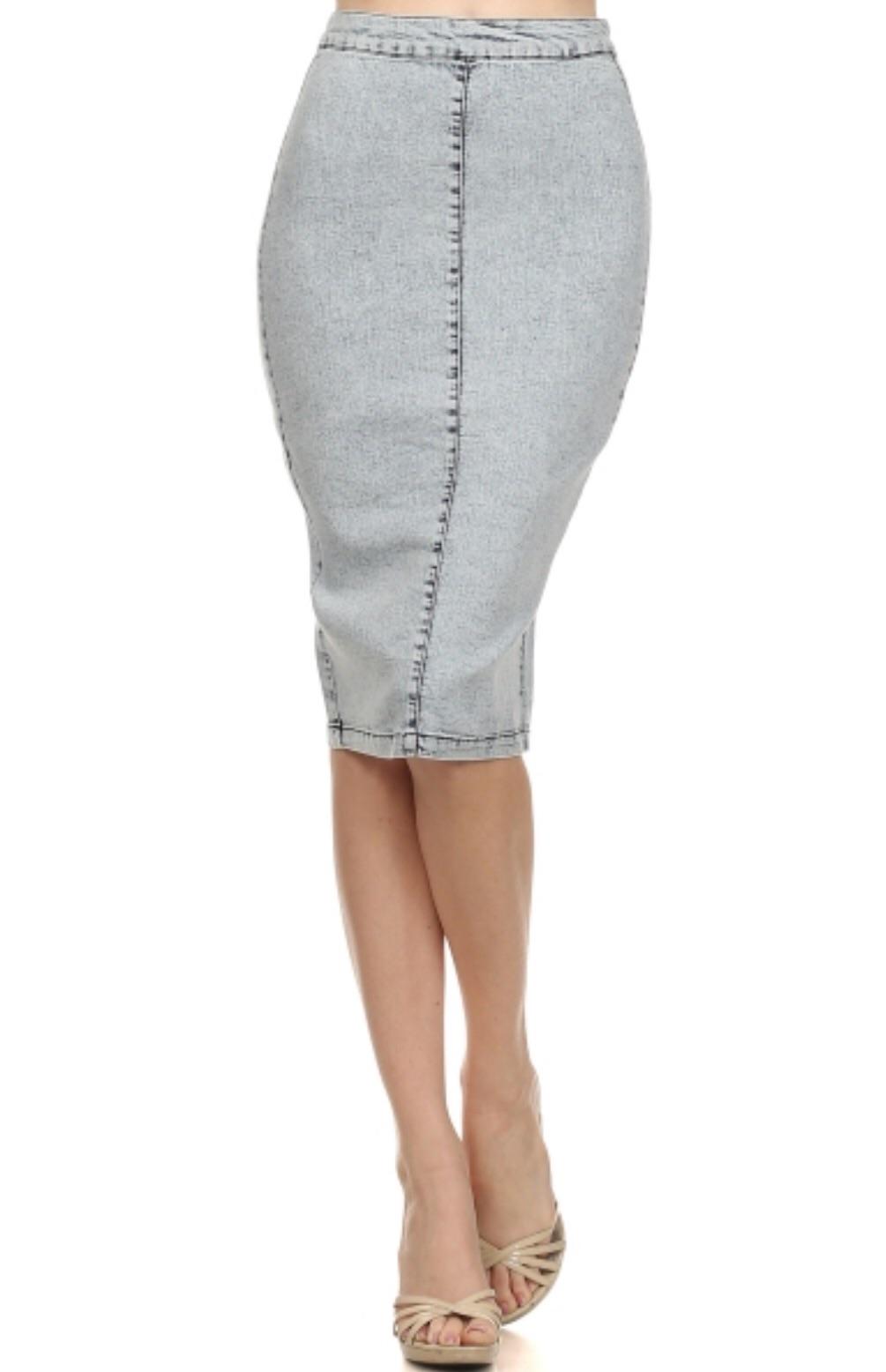 midi denim pencil skirt 183 trendy wendy z boutique 183