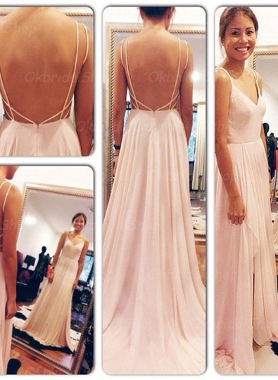 blush pink prom dresses, backless prom dress, sexy prom dress ...