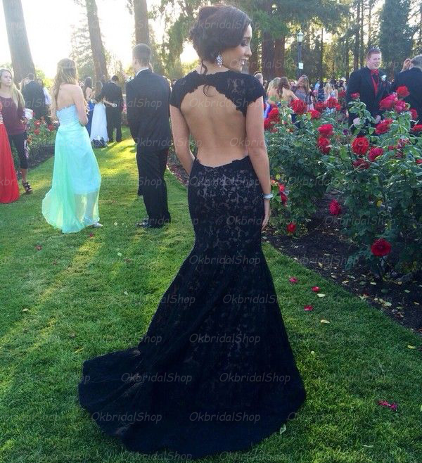 Black lace backless evening dress