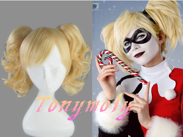 harley quinn cosplay wig blonde long curly synthetic hair wig