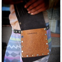 Tan Tooled & Brown Suede fringed Hip Pocket