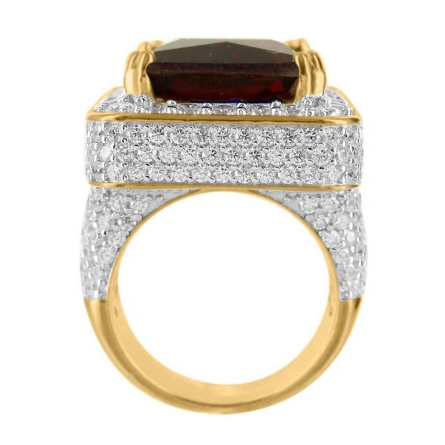 Red Ruby Garnet Solitaire Emerald Cut Yellow Gold Finish Silver Mens Ring · D