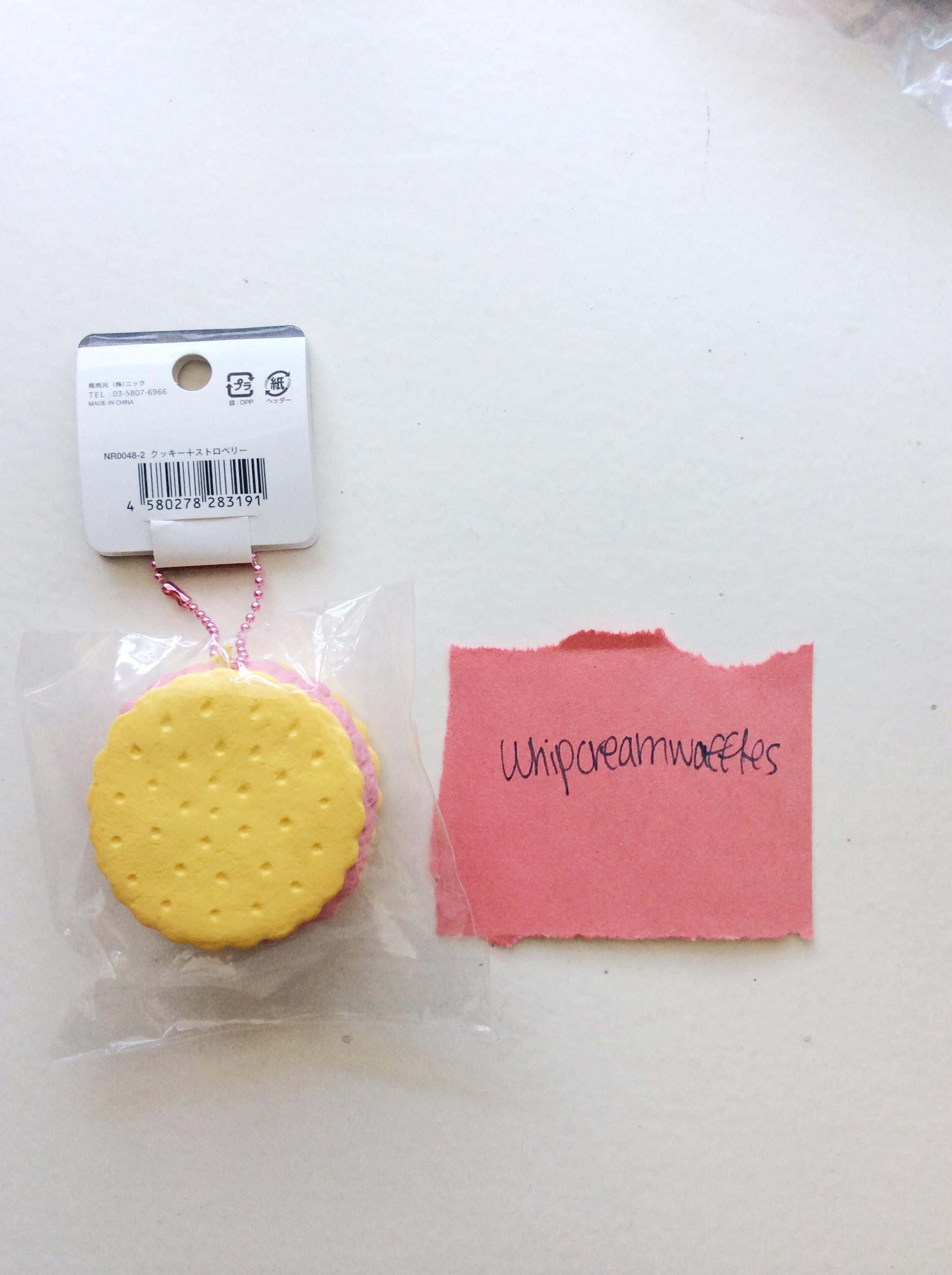 Rare Reproduced Cafe De N Vanilla Strawberry Ice Cream Sandwich Squishy ? Whipcreamwaffles ...