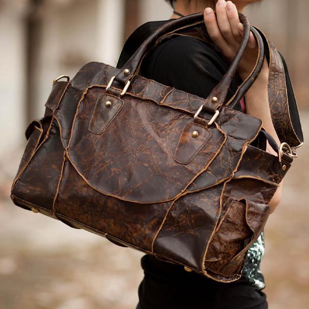 vintage handmade antique cow leather s handbag
