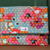 Grey Poppies Foldover Clutch