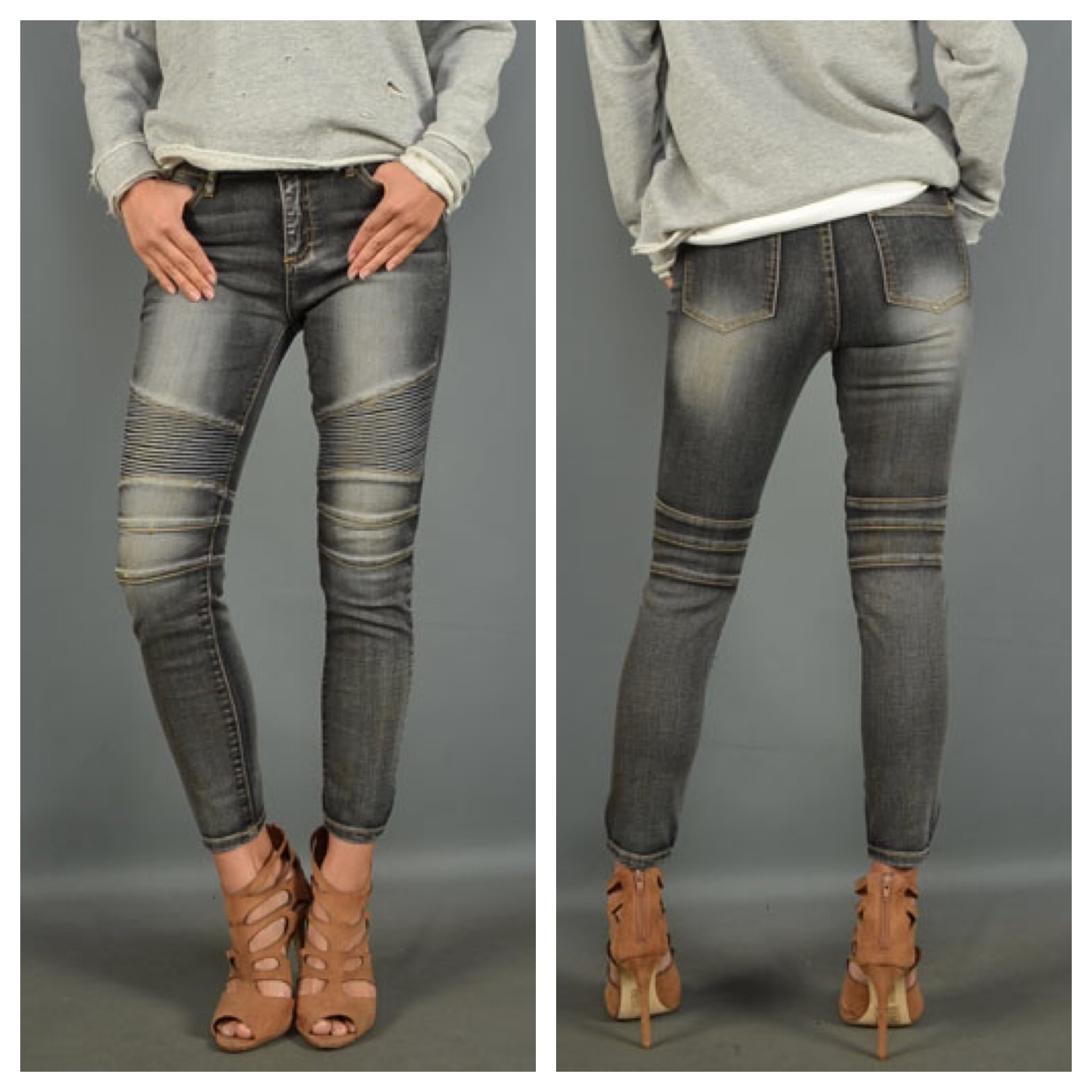 Charcoal Motor Jeans Jaded Bliss Boutique Online Store