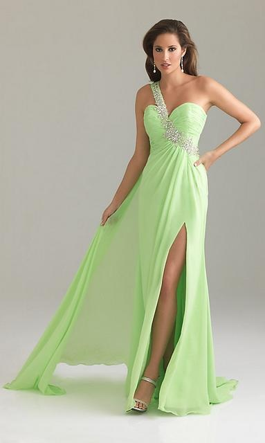 The Priscilla Gown In Chartreuse One Shoulder Prom Dress