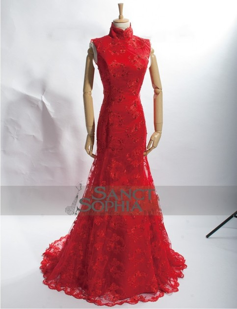 Mermaid Style Wedding Dresses With Color : Chinese style mermaid red wedding dress custom with any color keyhole