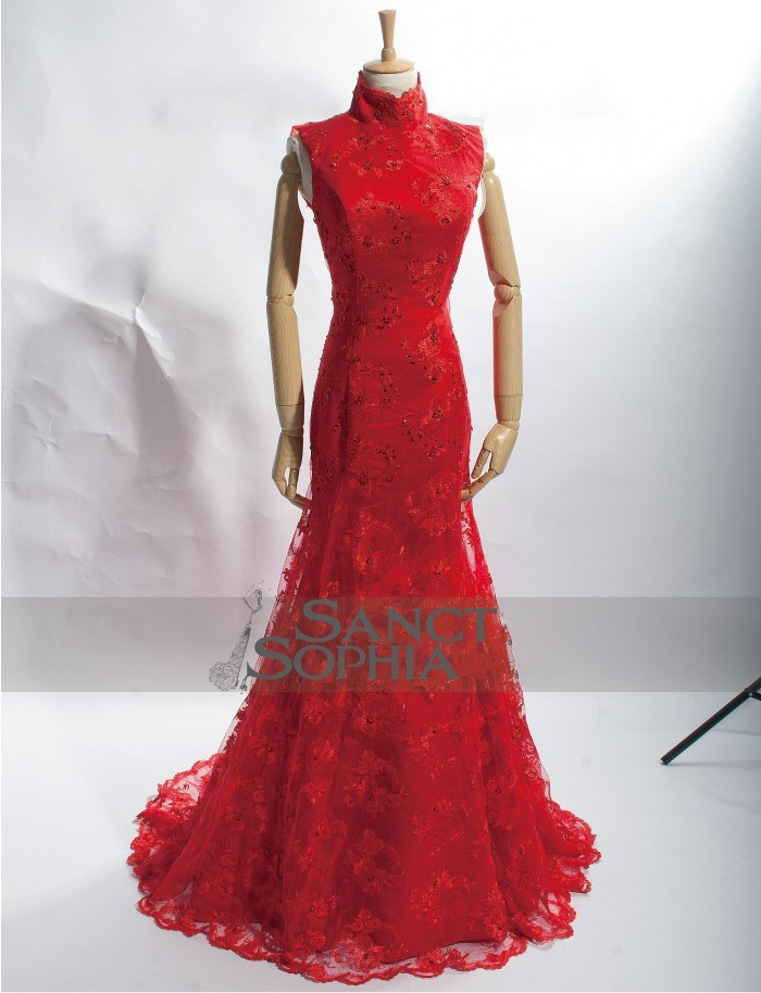 Chinese style mermaid red wedding dress custom with any for Chinese style wedding dress