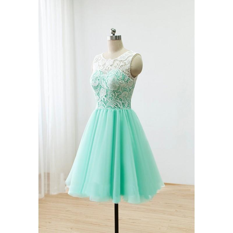 lace bridesmaid dresses, short bridesmaid dresses, mint bridesmaid ...