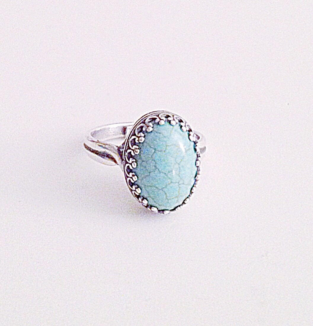 rings two ball turquoise birthstone stackable ring blue december dot gemstone stacking silver description shop