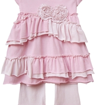 Isobella & Chloe Sugar Cookie Light Pink Cap Sleeve Ruffles Pant Set