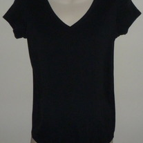 Black V Neck Short Sleeve Shirt-Old Navy Maternity Size Small  SF0413