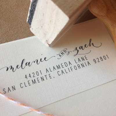 Calligraphy address stamp custom -- mixed calligraphy and type - modèrne style