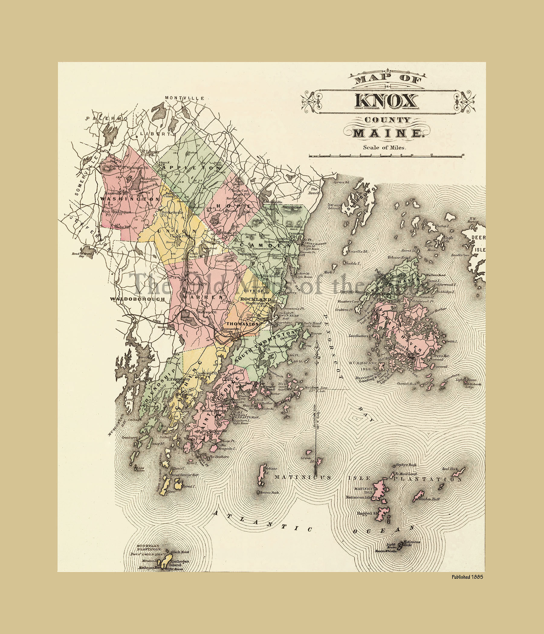 Knox County Maine In Vintage Map Antique Map Reproduction - Antique map of maine