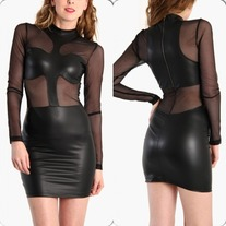 Faux leather mesh dress