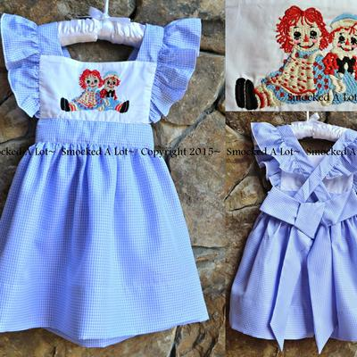 Raggedy ann and andy- hand embroidered dress- blue gingham
