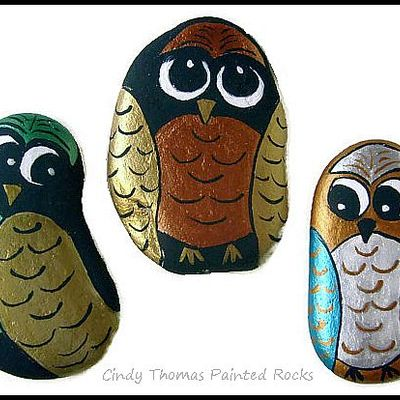 Gleaming owls painted rocks - set of 3 - free usa shipping
