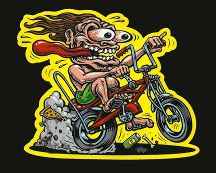 Bike Freak Full Color Shaped Vinyl Sticker Jimbo Phillips - Full color vinyl stickers