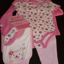 5 Piece Onesie, Shirt, Pant, Bib Socks Pink/Brown Set-Carters Size 6-9 Months  GS413