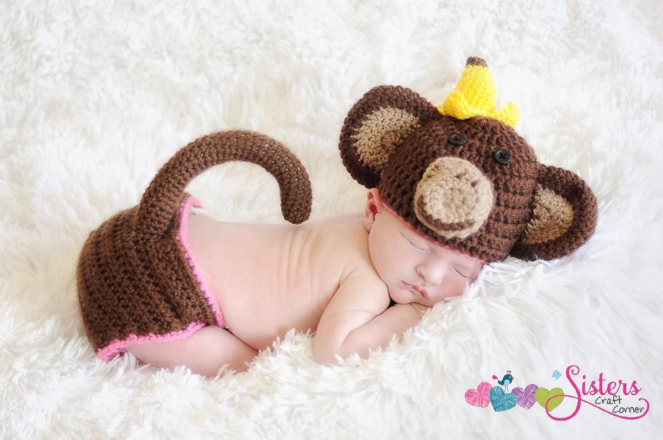 Baby Monkey Hat Diaper Cover With Tail Set Messy Monkey Newborn