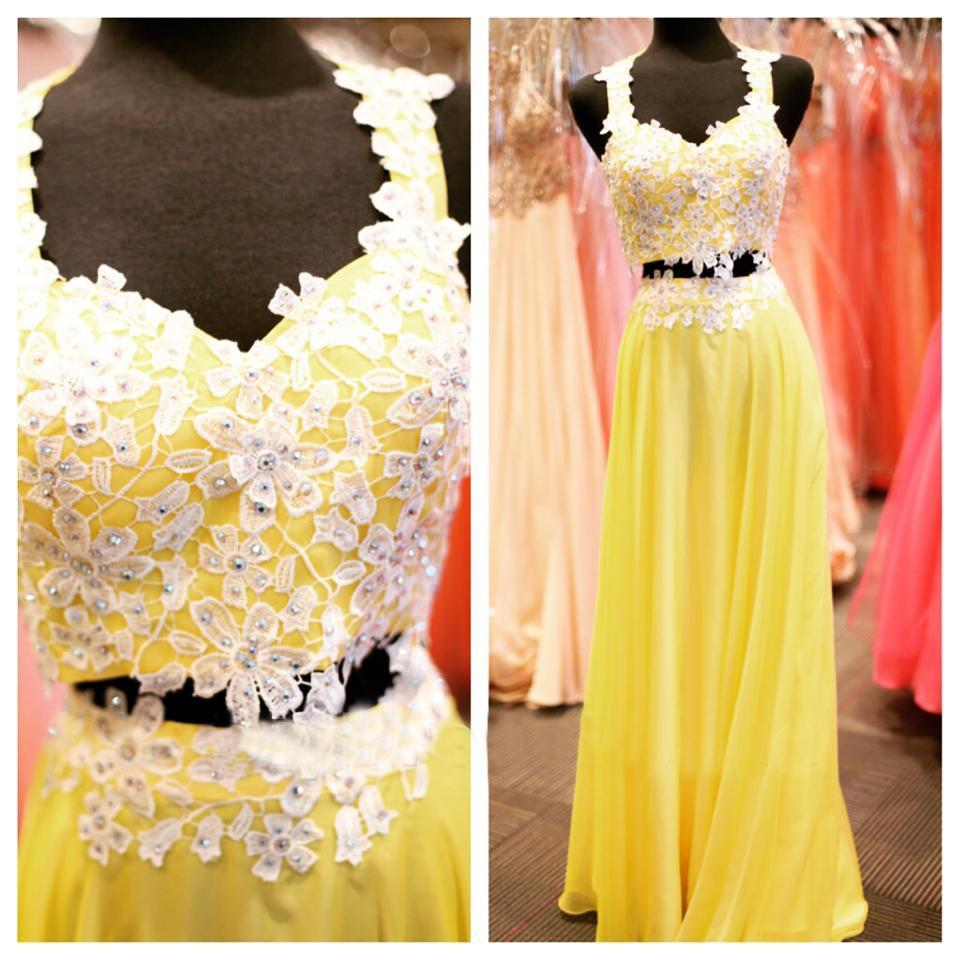 yellow prom dress, long prom dress, lace prom dress, prom dress 2018 ...