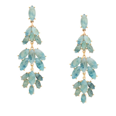 Dripping in marble earrings - blue green
