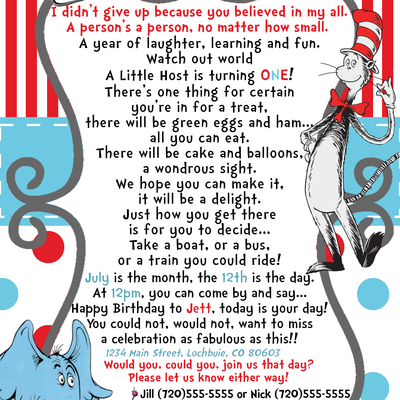 Preemie Dr Seuss Birthday Invitation YOU Print 5280 Paper Crafts