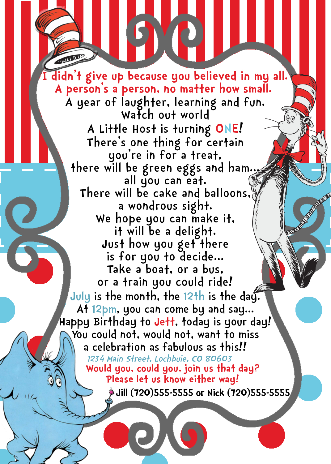 Preemie Dr Seuss Birthday Invitation YOU Print 5280 Paper