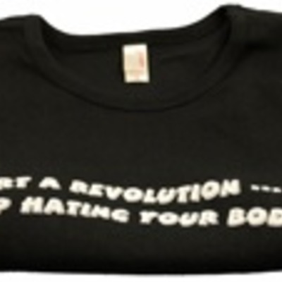 "Plus-size only ""start a revolution, stop hating your body"" t-shirt"