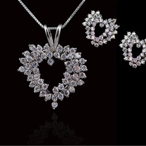Cluster Heart Necklace & Earring Set