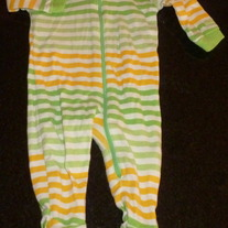 Green/Yellow/White Stripe Sleeper-The Children's Place Size 0-3 Months  GS413