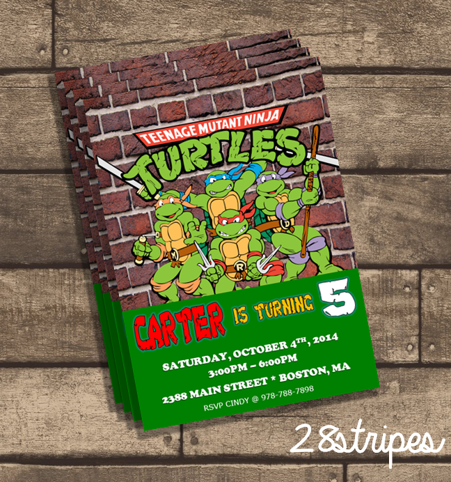 tmnt  teenage mutant ninja turtles  birthday party invitation, Birthday invitations