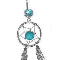 Turquoise Dreamcatcher Belly Ring 14G