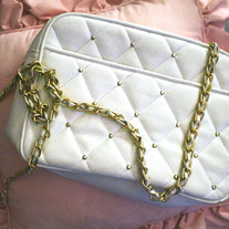 Gold Studded Quilted Chain Purse