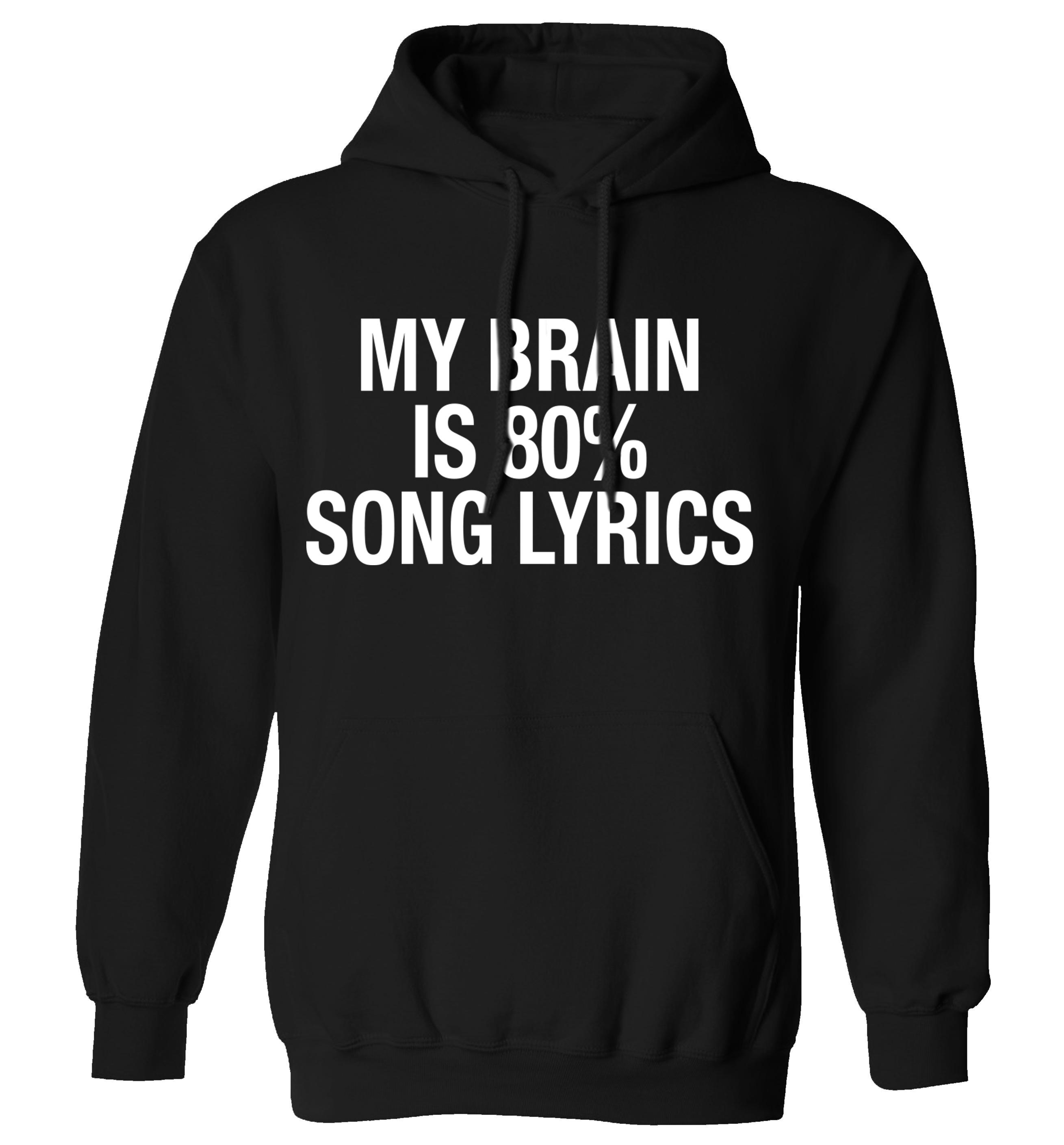 My Brain Is 80 Song Lyrics Hoodie Tumblr Instagram Cute Rock Hipster Slogan Music Gig