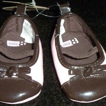 Brown/Pink Crib Shoes-NEW-Baby 8 Size 1