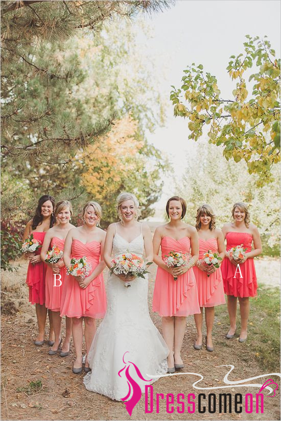 Rustic Bridesmaid Dress Chic Strapless Coral Gown Blush Pink Chiffon Knee Length Dresses For Wedding